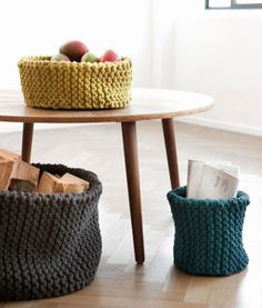 handknitted baskets