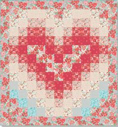 """Heart Bargello Quilt   Smitten Quilt, 71 x 85"""", fabric by Barb Tourtillotte and free pattern by Stephanie Sims for Clothworks  http://www.clothworkstextiles.com/pdfs/patterns/smittenquilt.pdf"""