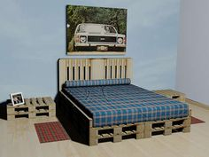 My new obsession is making a bedframe using pallets......think I found a starting point.