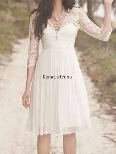 Aline Vneck Knee Length White Chiffon Lace Formal by Denwi sdress, $119.00
