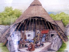 Modern depiction of Celtic Roundhouse, The Din Lligwy Ancient Village, 3-4th century AD, North Wales.