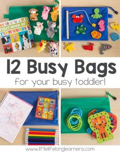 12 Simple Busy Bag ideas for toddlers   busy bags for 2 year olds to use at a restaurant   airplane travel ideas for kids   quiet time activities