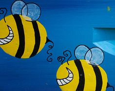 Crazy Bees Beehive Box for Honey Bees, Custom Painted Bee Hive Art