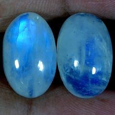 22.95Ct Natural Rainbow Moonstone Matched Pair Oval Cabochon For Earring Jewelry #Handmade