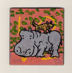 Hippo and Dingo  marker painting on panel by doodleslice on Etsy $50 plus shipping