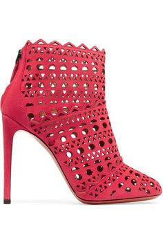 Alaïa's boots are defined by precise geometric perforations – an example of the house's unmistakable laser-cutting technique. Set on a pin-thin stiletto heel, this pair is crafted from red suede and has a supple leather lining.