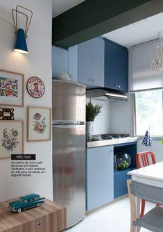 Armários de cozinha em degradé de azuis