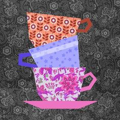 Cups Stacking Paper Pieced block