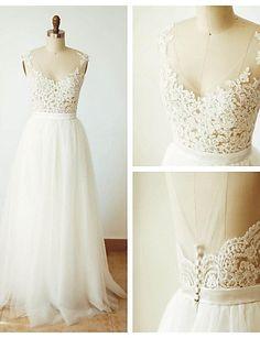 Elfenbein V-Ausschnitt hauchdünnen hintere Hochzeit Spitzenkleid mit…