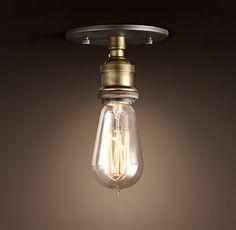 20th C. Factory Filament Bare Bulb Flushmount