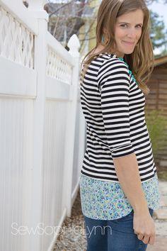 Love Notions Tabitha Shirt-tail top sewn by SewSophieLynn