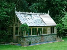 Greenhouse potting shed The two sections have a division with the shed roof element covered with the standard Cedar shingle optionally slate or t Backyard Greenhouse, Greenhouse Plans, Pallet Greenhouse, Small Greenhouse, Garden Buildings, Garden Structures, Design Jardin, Garden Design, Shed Conversion Ideas