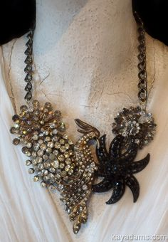 A4058 Sold [A4058] - $325.00 : Kay Adams, Anthill Antiques, Jewelry and Chandelier Heaven. Bird Jewelry. Bird of Paradise Necklace. Statement Bib Necklace. #gottagettakay