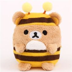 mini Rilakkuma brown bear as bee plush toy by San-X from Japan