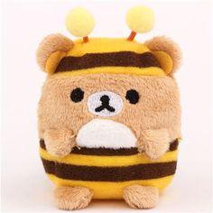 mini Rilakkuma brown bear as bee plush toy by San-X from Japan