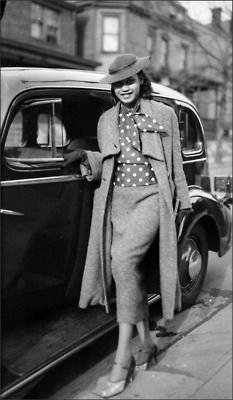 "Mary Lou Harris snapped in a long tweed suit with polka dot blouse (circa 1930s) by the marvelous photography legend Charles ""Teenie"" Harris in Pittsburgh, PA."