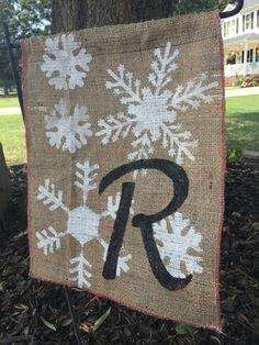 Christmas Decorations ~ SNOWFLAKE~ Burlap Banner Flag ~ Outdoor Indoor Welcome Sign ~ Christmas Hostess Gift ~ Monogram by CarolinaConcepts on Etsy