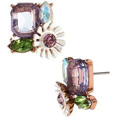 Betsey Johnson Spring Fling Purple Flower Stud Earrings (2725 RSD) ❤ liked on Polyvore featuring jewelry, earrings, necklaces, purple, stud earrings, plastic earrings, plastic post earrings, post earrings and plastic stud earrings