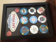 Unique gift idea for the Vegas lover or gambling enthusiast. Collect 1.00 chips from various casinos in Vegas. Velcro them onto a shadow box frame and decorate with scrapbook stickers. Voila. You can even buy the chips online. Just google search casnio chips and pick the ones you like.