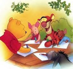 Winnie the Pooh and friends drawing.