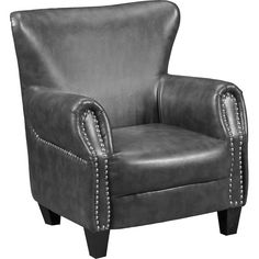 Living Room Furniture - Flint Bonded Leather Accent Chair - Grey