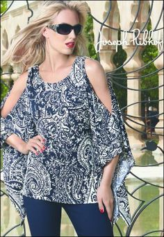Joseph Ribkoff   Top   Navy & White   Cold Shoulder   Sequin Scattered at front   #josephribkoff 2014 Spring Summer Collection. #josephribkoff #josephribkoff  #josephribkoff #fashion #top #2014.