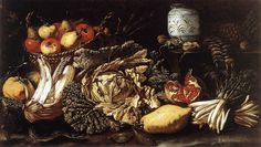 Tommaso Salini; Still-life with Fruit, Vegetables and Animals 1621 Oil on canvas, 55 x 95 cm