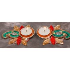 Green paisley t- lite Diya - Online Shopping for Diyas and Lights by Services Junction