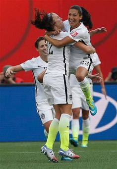 United States' Christen Press celebrates her goal against Australia with Lauren Holiday during a FIFA Women's World Cup soccer match in Winnipeg, Manitoba, Monday, June (John Woods/The Canadian Press via AP) MANDATORY CREDIT Soccer Match, Play Soccer, Soccer Teams, Female Soccer Players, Athlete Quotes, Soccer Workouts, Soccer Inspiration, World Cup Champions, Fifa Women's World Cup