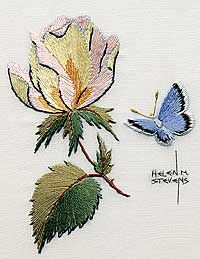 Needlework and photo by Helen Stevens Embroidery Fabric, Embroidery Patterns, Quilting Thread, Needlepoint Designs, Thread Painting, Crochet Projects, Diy Projects, Needle And Thread, Fiber Art
