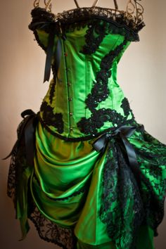 GREEN GYPSY  Steampunk Green Black Burlesque Corset by olgaitaly, $295.00