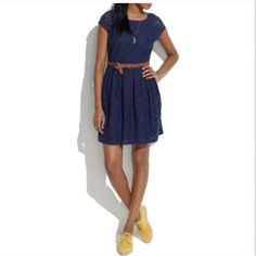 Madewell Lace Dress Navy lace dress with a fitted top and full skirt. Hidden zipper on the back. Perfect to be worn with a skinny belt and wedges.  Madewell Dresses Mini