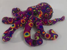 "Fiesta Inkster OCTOPUS Plush Stuffed Animal Tye Dye Colorful Fish Toy 12"" Squid  #Fiesta"