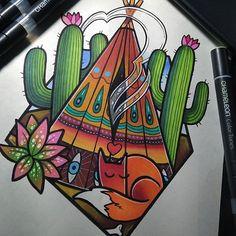 Stunning tattoo design created by @candela_pajaro_tattoo with their Chameleon Pens.   #chameleonpens #tipi #tipitattoo #indiantipi #cactus #cactustattoo #oviedotattoo #foxtattoo #