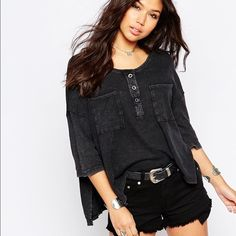 Free people stardust Henley This is basically NWOT. I did not wear it and it's in perfect condition. Oversized fit, super comfortable and great for summer. Free People Tops