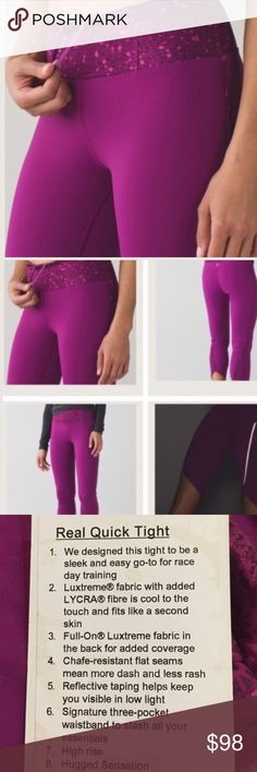 Lululemon Real Quick Tight 8 NWT REGP/DSWG Lululemon Real Quick Tight 8 NWT REGP/DSWG  ❌NO TRADES 🔴OFFERS SHOULD BE MADE THROUGH POSH OFFER FEATURE 🔴PRICES NOT DISCUSSED IN COMMENTS  🔴FEEL FREE TO ASK ANY QUESTIONS lululemon athletica Pants