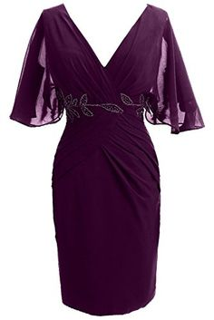Sunvary Woman Sheath V Neck Mother of the Bride Dresses Short Sleeves Prom Cocktail Gowns Bridesmaid Dress Chiffon US Size Purple Cocktail Dresses With Sleeves, Cocktail Gowns, Evening Cocktail, Nice Dresses, Short Sleeve Dresses, Short Sleeves, Bride Gowns, Formal Evening Dresses, Evening Gowns