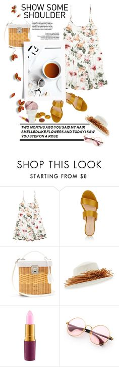 """""""Show Me Some Shoulder"""" by emcf3548 ❤ liked on Polyvore featuring Forever 21, Barneys New York, Mark Cross, Brinks, Gigi Burris Millinery, MAC Cosmetics and Sin"""