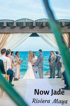 One of the best all-inclusive resorts near Cancun for your beach wedding is the Now Jade. (Wedding Photography by Fun In the Sun Weddings) https://funinthesunweddings.com/wedding-stories/brittany-artem-beach-wedding-now-jade-riviera-maya/