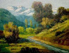 Cerros cordillerano al óleo, paisaje neoimpresionista por Dario Contreras.