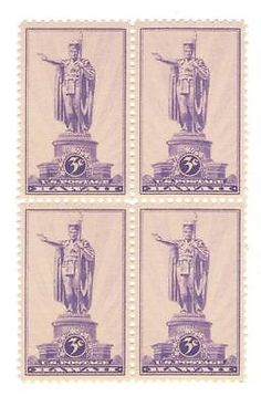 Kamehameha-I-First-King-of-Hawaii-76-Yr-Old-Mint-Vintage-Stamp-Block-from-1937