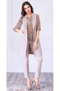 Костюм женский тройка (жакет, блуза, брюки), размер 48, артикул ЛК-949