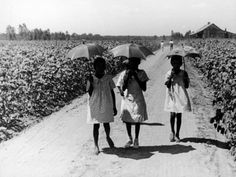 Three Young Barefoot African American Sharecroppers' Daughters on their Way to Sunday School Premium Photographic Print