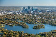 Autumn aerial view of Minneapolis, Minnesota, taken from the south looking north of Lake of the Isles.