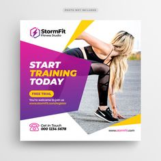 Fitness Gym Social Media Post Or Square Flyer Template Social Media Poster, Social Media Banner, Social Media Design, Modele Flyer, Prospectus, Facebook Cover Design, Promotional Banners, Instagram Banner, Brochure Design