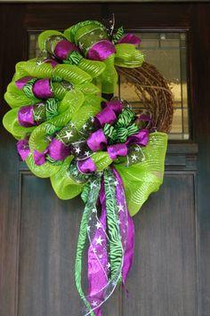 XL Halloween Deco Mesh Grapevine Wreath~FALL~LIME GREEN~PURPLE~ZEBRA~BLACK~STAR