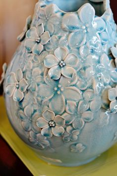 coil pot with 3D flowers