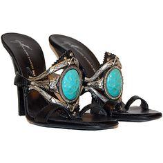 Giuseppe Zanotti Black Turquoise Sandals ❤ liked on Polyvore