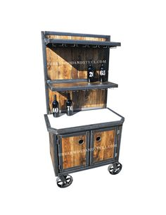 Have this professional grade bar cart stocked and ready for your next party. Reclaimed pine, carbon steel, massive locking casters, & concrete