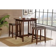 World Imports Furnishings 3 Piece Bar Table Set in Spice